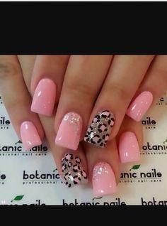 Cute pink leopard print nail art  Ideas