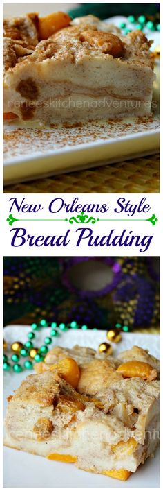New Orleans Style Bread Pudding | Renee's Kitchen Adventures: easy bread pudding dessert takes your taste buds to the Big Easy in one bite! Made with canned fruit!