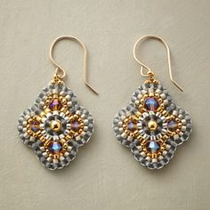 """LA LUZ EARRINGS--To create these handmade Miguel Ases earrings, the designer trims brilliant beads in matte gray. Handcrafted in USA with Miyuki, crystal and 18kt gold plated beads. 14kt gold filled French wires. Exclusive. 1-1/2""""L."""