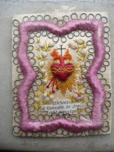 antique beautiful, silk embroidery, scapular, Sacred Heart of Jesus | eBay