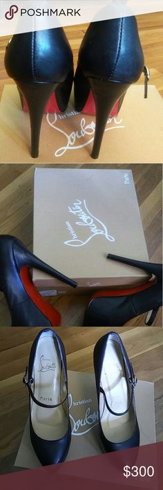 RED BOTTOM  high heels Black RED BOTTOM heels don't know if there authentic got these for my birthday about 3 years ago had them on twice and never walked outside in them👌😁 lol like new comes with two dust bags and box I love them but the heels just to high for me now please read and ask questions Christian Louboutin Shoes Heels
