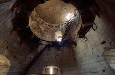 Torre della Regina turret at Lucera Castle.    The interior of the Torre della Regina in the Lucera castle, in the Apulia region of Italy.