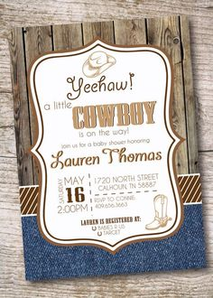 Country Baby Shower Invitations Beautiful Cowboy Baby Shower Invitation Country Rustic Party by Invitesbyc Denim Baby Shower, Cowboy Baby Shower, Baby Shower Fall, Fall Baby, Baby Boy Shower, Baby Shawer, Printable Baby Shower Invitations, Baby Shower Printables, Baby Shower Themes