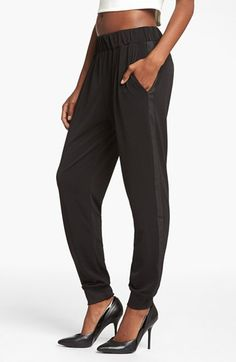 my favorite black  track pants updated with a tuxedo stripe and crepe fabric | Nordstrom