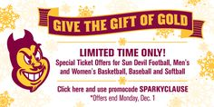 ASU Sun Devils Ticket Offer for Black Friday through Cyber Monday