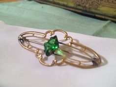 Vintage White Co Emerald Brooch Art Deco FREE by TheModPasse, $35.00