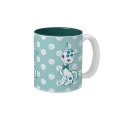 Cute Girly Kitty Cat Aqua Blue