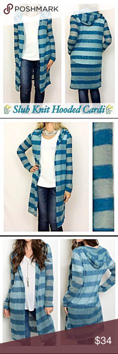"""Slub Striped Hooded Cardigan Sweater SML Ahhh love a fun cardigan❣️Such an adorable slub knit sweater 50% acrylic/50% polyester in striped shades of teal blue. Perfect with leggings or jeans. Hooded & lighweight. Be cute & cozy💙  Small 2/4 length 40"""" Medium 6/8 length 40.5"""" Large 10/12 length 41"""" Sweaters Cardigans"""
