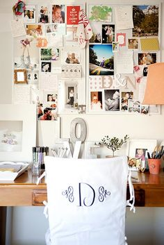 Love the monogram chair cover and the inspiration wall Inspiration Wand, Inspiration Boards, Interior Inspiration, Design Inspiration, Workspace Inspiration, Home Office, Office Decor, Office Ideas, Office Spaces