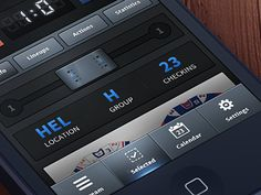 Hockey app ios Design found on Dribbble. Very nice buttons. Love the gradients and the dark color scheme.