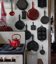 Cast iron cookware kitchen. @Shelby Long I think you could do this with your cast iron stuff!