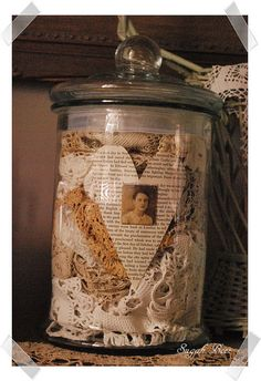 jar of laces- want to do this with my great grandma's crochet cotton and lace.