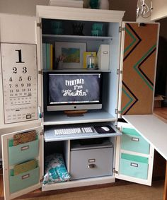 Before & After: A Clunky Cabinet is Transformed Into a Creative Space  - CountryLiving.com