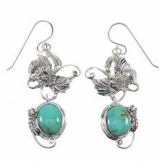 Turquoise Silver Hook Dangle Flower Earrings