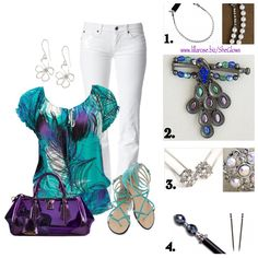 Lovely peacock inspired outfit pops with bold colors against pure white pants. Which Lilla Rose hair accessory would you pair with this bright and beautiful look?