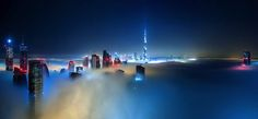 Dubai-based German photographer Sebastian Opitz captures the surreal and mystical look of his adopted city as fog rolls in and out at sunrise. The photographer renames the cityscape as Cloud City for the brief moments when the mist takes over and fills the empty space between the towering buildings. Optizs images offer a serene and dreamy view of a bustling city, re-imagining it as a heavenly metropolis in the sky.