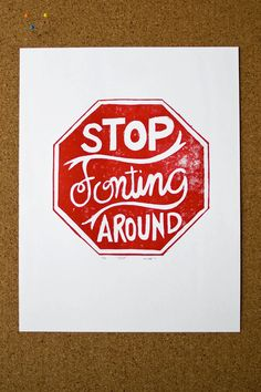 PRINT Graphic Design Red Stop Sign Typography Linocut - WALL DECOR, Cubicle Art