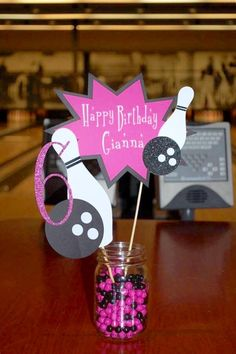 Custom centerpieces for your birthday bowling party! Listing is for two separate pieces. One will read Happy Birthday (name) with smaller pin and ball detail, and the other will be the age with large bowling pin and ball. Made with premium card stock. Shown in pink with glitter card stock detail, perfect for a girls party. Can be made in any color scheme to match your next event. Can be made with or without glitter card stock. You will receive two separate centerpieces on 12in bamboo rods…