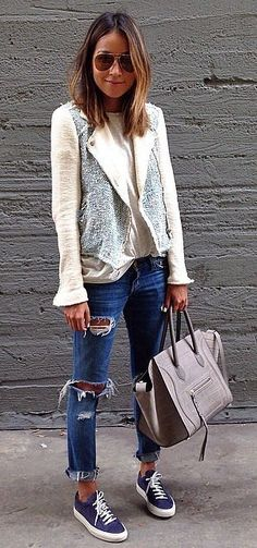Distressed Denim Paired With an Edgy Jacket and Céline Purse