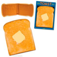 "FAUX LEATHER TOAST WALLET WITH BUTTER 4"" GAG GIFT NEW"