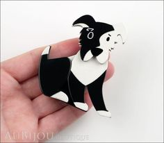 Erstwilder Brooch Pin Coby Collie Dog Black White Model