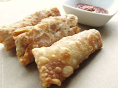 homemade pizza rolls w/ pepperoni sauce... made w/ egg roll wrappers, could fill with anything.