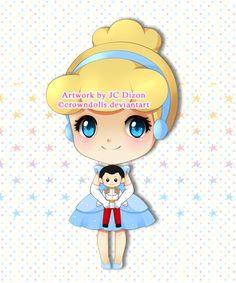 Chibi Cinderella with Prince doll by crowndolls