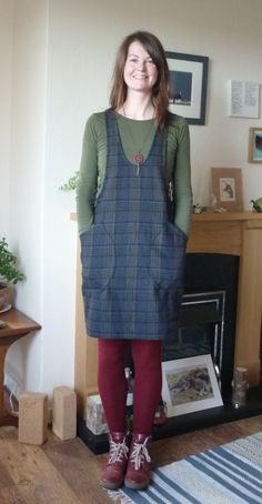 Tartan York Pinafore – Heathery Makes Corduroy Pinafore Dress, Red Tights, 70s Inspired Fashion, Jumpsuit Pattern, Girls Wardrobe, Cotton Tunics, Sewing Clothes, Simple Dresses, Refashion