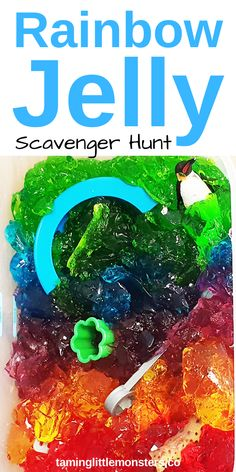 Such a fun, taste-safe sensory activity for kids! Activities For 2 Year Olds, Creative Activities, Sensory Activities, Sensory Play, Infant Activities, Rainbow Rice, Rainbow Jelly, Scavenger Hunt For Kids, Sensory Bags