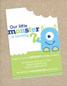 Monster Birthday Party Invitation. $15.00, via Etsy.