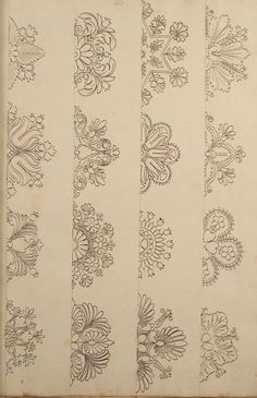 These would make nice embroidery patterns for edges. Directoire designs for textiles Embroidery Stitches, Embroidery Patterns, Hand Embroidery, Indian Embroidery Designs, Machine Quilting Patterns, Indian Patterns, Bordado Jacobean, Islamic Art, Mehndi Designs