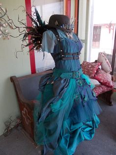 CUSTOM MADE: Custom Upcycled Steampunk Fairy Costume with L.E.D. Wings by ReviveGifts on Etsy https://www.etsy.com/listing/229645308/custom-made-custom-upcycled-steampunk