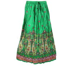 Mogulinterior Boho Maxi Skirts Green Floral Printed Hippie Gypsy Beach Summer Peasant Long skirts