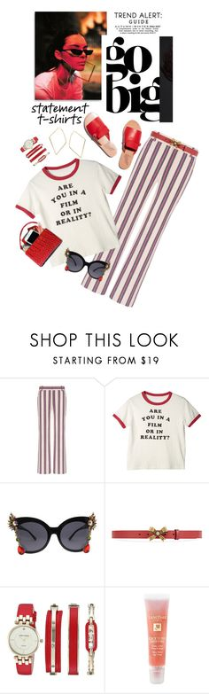 """""""Say It Loud: Slogan T-Shirts"""" by shortyluv718 ❤ liked on Polyvore featuring Tory Burch, Gucci, Anne Klein, Lancôme and slogantshirts"""