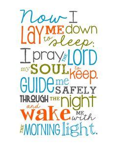 Now I Lay Me Down to Sleep Prayer - 8x10 print - Darker Boy Colors - Aqua, Orange, Olive Green, Charcoal Gray $12.00