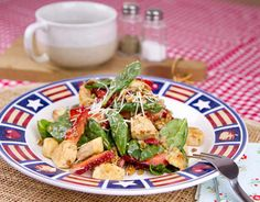 Warm Chicken Salad with Strawberries, Pecans and Bacon / @DJ Foodie / DJFoodie.com