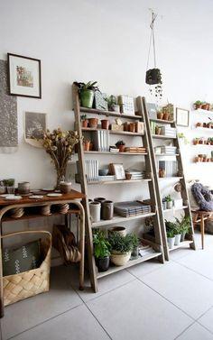 love these ladder shelves