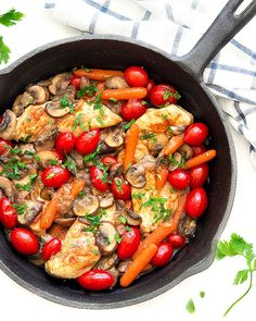 This easy chicken and veggies skillet is flavorful, colorful as well as pretty quick to throw together.