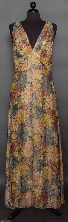 1930s PRINTED LAME EVENING GOWN, Multi-color blossom print w/ silver lame brocade in feather pattern, bias cut, low V front, square back, includes yellow rayon underslip