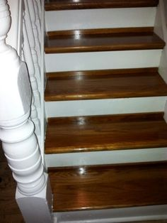 Retro Treads From Lowes.stain Is Minwax Polyshade In Mission Oak Gloss.I  Used The Piece That I Cut Off To Cover Up Any Spacing On The Back Of The  Stair .