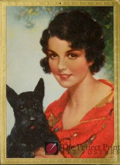 Scottie Facts you May Not Know: http://wp.me/p3czXo-os Art Print Poster Calendar #1940 Woman #Scottish Terrier | eBay #scottie