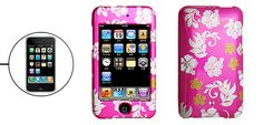 Silvery Flower Pattern Amaranth Pink Plastic Case for iPod Touch II