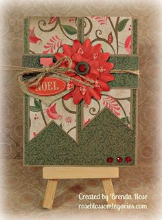 """CTMH Pear & Partridge Christmas Card I need to remember to use flowers...not always for """"girly"""" things."""