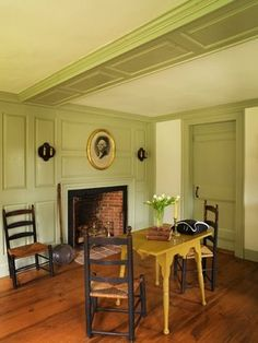 Colonial Fireplace, paneling Interesting ceiling paneling