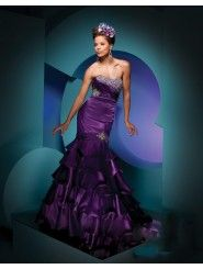 Satin Mermaid Strapless Soft Neckline Pleated Empire Prom Dress