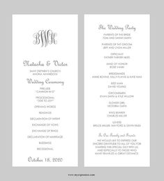 Wedding Program Template – Tea Length - Monogram Initials (Gray)- Instant Download - Editable MS Word File