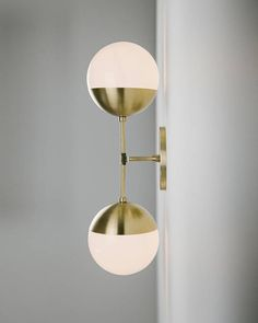 Items similar to Modern Brass Light Duel milk glass & solid brass wall sconce - Delphine on Etsy Room Paint Designs, Brass Ceiling Fan, Lampe Applique, Lighting Concepts, Lighting Ideas, Room Tiles, Room Accessories, Glass Globe, Wall Sconces