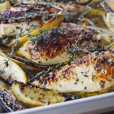 Lemon Chicken Breasts :: I'm always looking for a quick mid-week dinner, and these Lemon Chicken Breasts are one of my go-to favorites. Chicken breasts, lemon, garlic, thyme, and into the oven for 35-40 minutes.  Nothing's easier after a long day and everybody's happy. What are some of your go-to weeknight dinners? I'd love to know!  :: Barefoot Contessa Barefoot Contessa Lemon Chicken, Food Network Barefoot Contessa, Chicken Recipes Food Network, Boneless Chicken Breast, Chicken Breasts, 5 Star Recipe, Wine Recipes, Cooking Recipes, Squeezed Lemon
