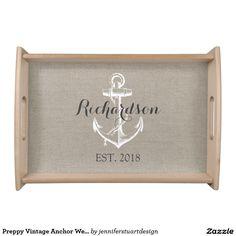 Preppy Vintage Anchor Wedding Monogram Serving Tray