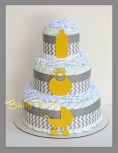 Modern Yellow and Gray Chevron Baby Shower, Grey And  Yellow Diaper Cake , Baby Shower Decorations on Etsy, $49.99